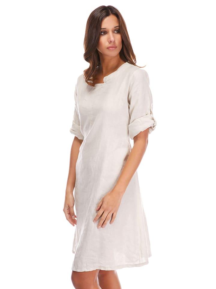 La Compagnie Du Lin Leinen-Kleid in Beige