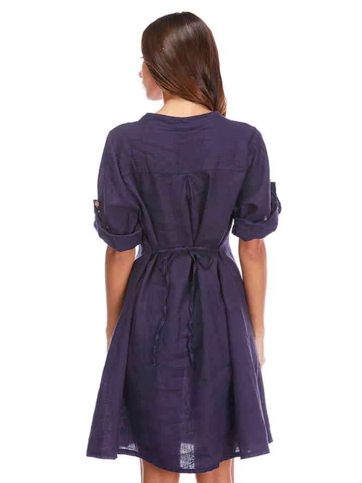 La Compagnie Du Lin Leinen-Kleid in Dunkelblau