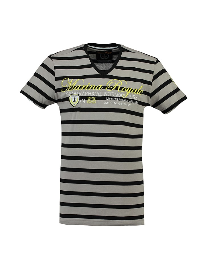 "Geographical Norway Shirt ""Jediteranee"" in Grau/ Schwarz"
