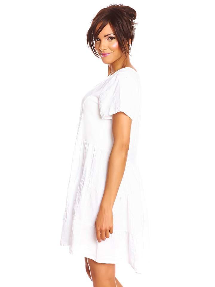 """Spécial Lin Leinen-Kleid """"Biarritz"""" in Weiß"""