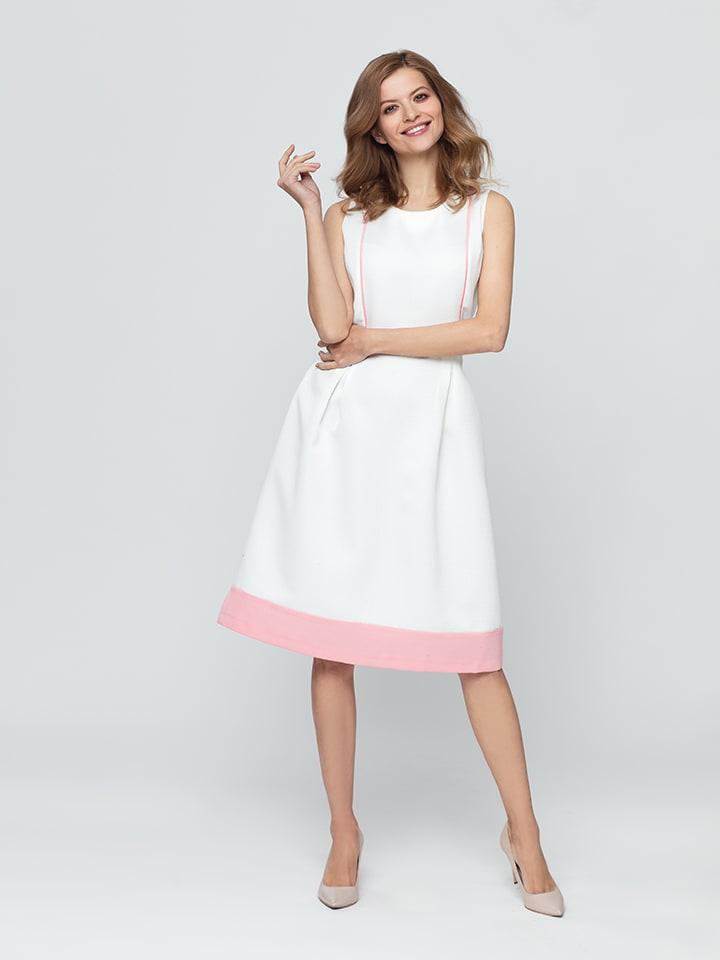 Kabelle Kleid in Creme/ Rosa