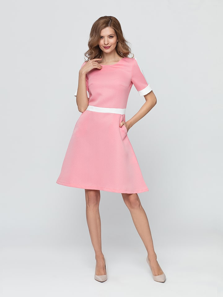 Kabelle Kleid in Rosa/ Creme