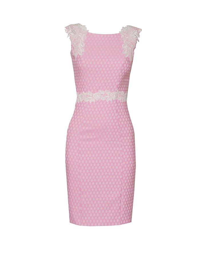 OLIMARA Kleid in Pink/ Weiß