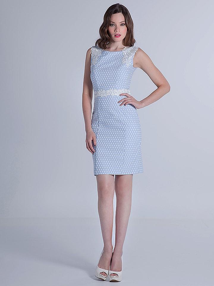 OLIMARA Kleid in Hellblau/ Weiß
