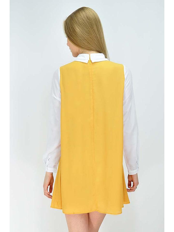 GoldKidLondon Kleid in Gelb/ Weiß