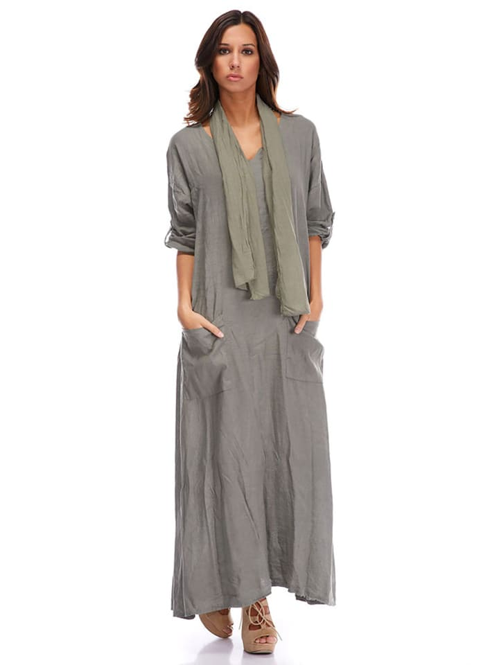 La Compagnie Du Lin Leinen-Kleid in Khaki