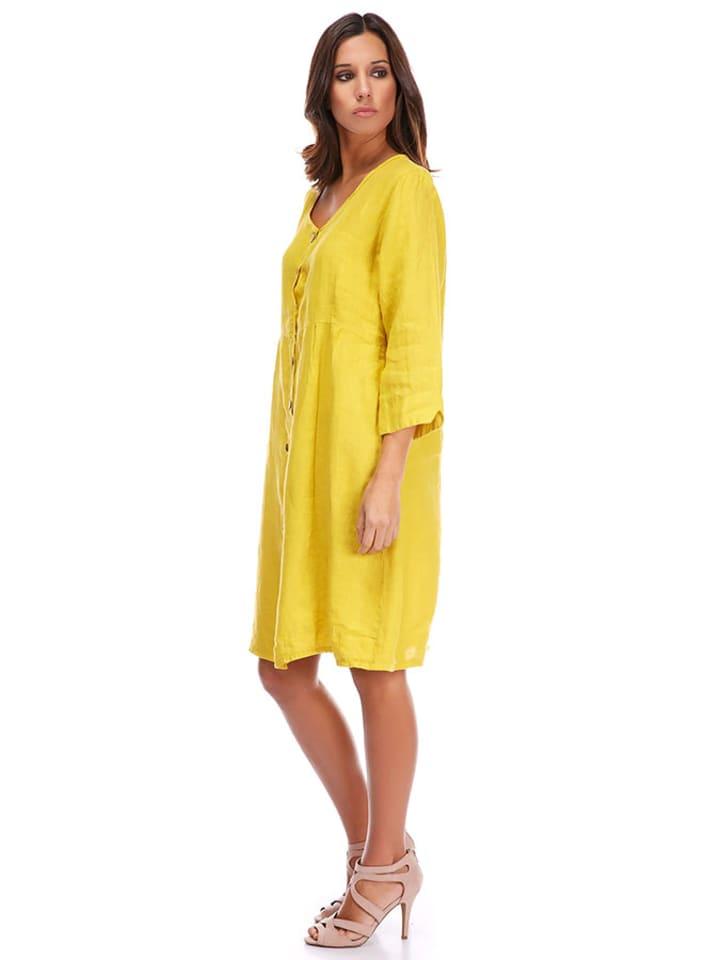 La Compagnie Du Lin Leinen-Kleid in Gelb