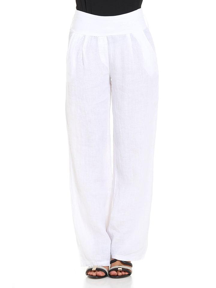 Mademoiselle Lola Leinen-Hose in Weiß