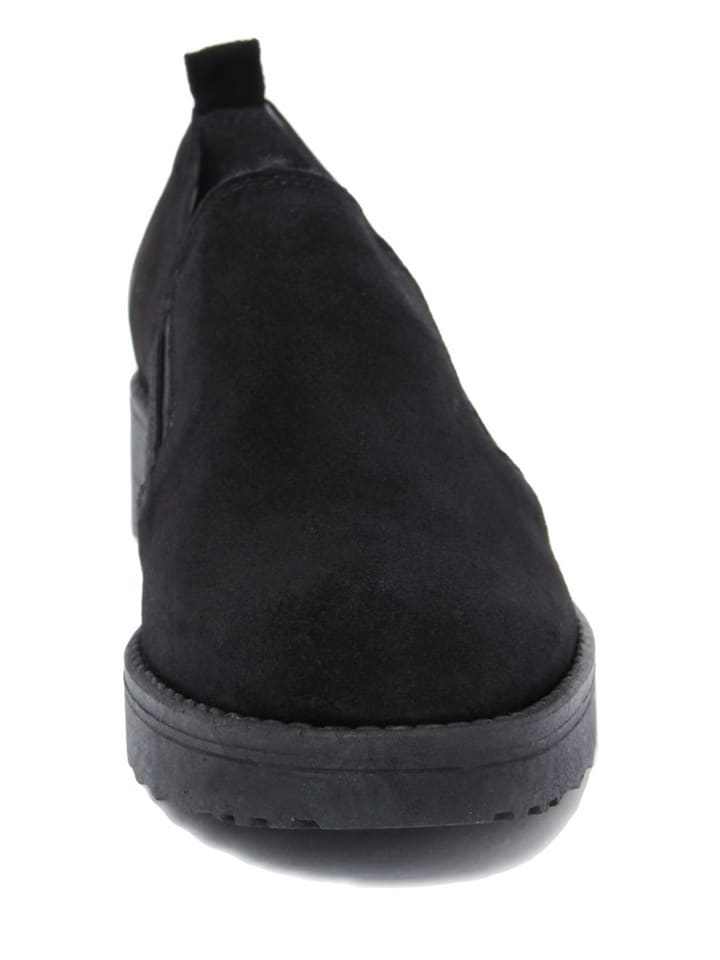 EYE Leder-Slipper in Schwarz