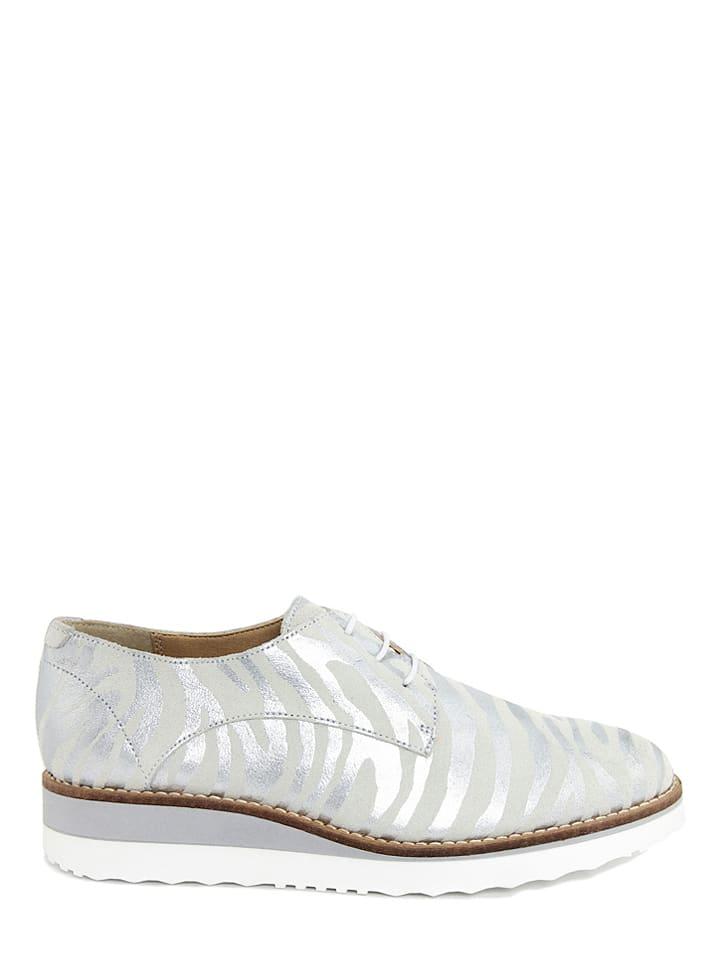 EYE Leder-Schnürschuhe in Weiß/ Silber