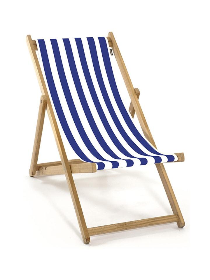 Lona Leżak w kolorze niebiesko-białym - (D)62 x (S)48 x (W)72 cm