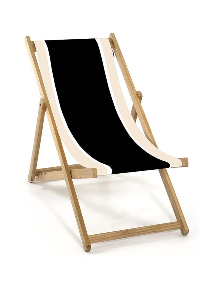 Lona Leżak w kolorze czarno-beżowo-białym - (D)62 x (S)48 x (W)72 cm