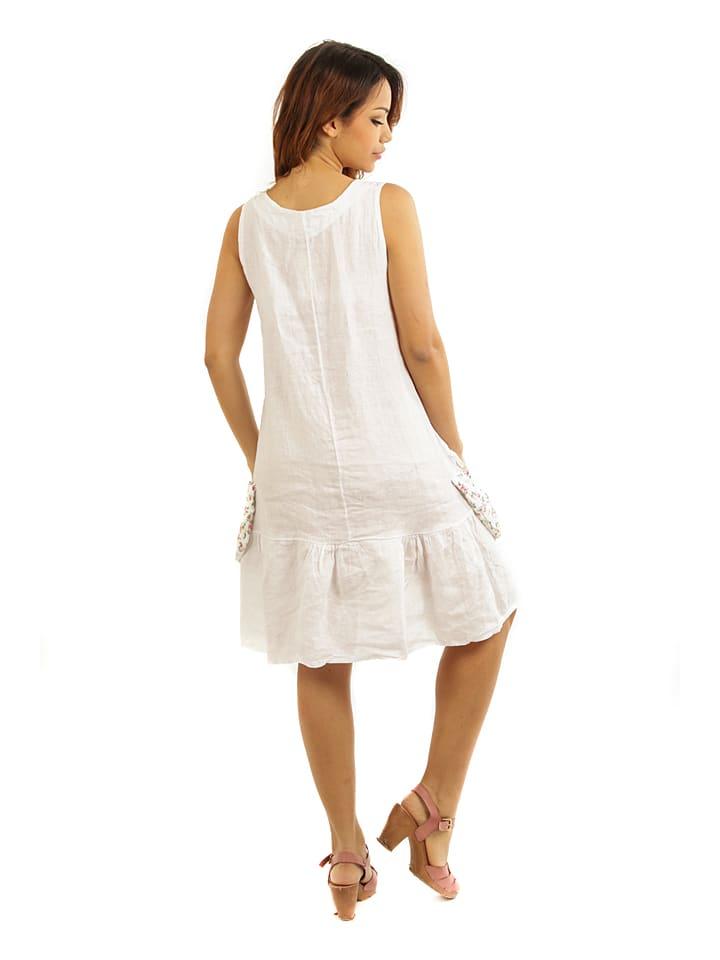 """Maison du Lin Leinen-Kleid """"Marseille"""" in Weiß"""