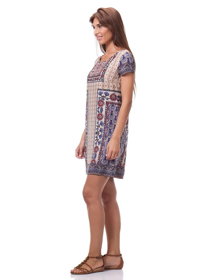 Calao Kleid in Beige/ Blau