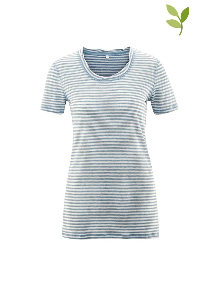 LIVING CRAFTS Shirt in Hellblau/ Weiß