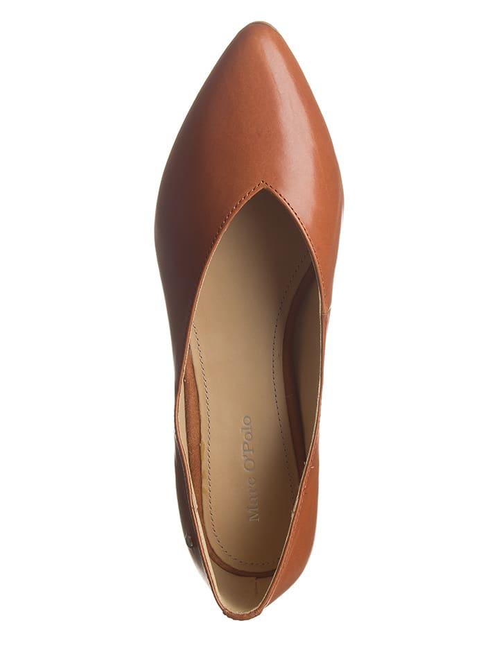 Marc O'Polo Shoes Leder-Ballerinas in Cognac