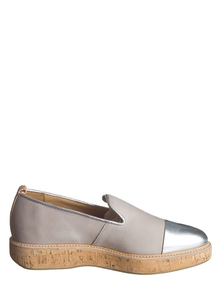 Marc OPolo Shoes Leder-Slipper in Grau/ Silber