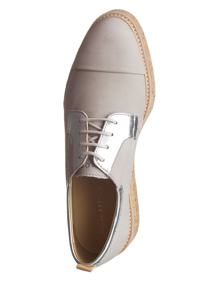 Marc O'Polo Shoes Leder-Schnürschuhe in Grau
