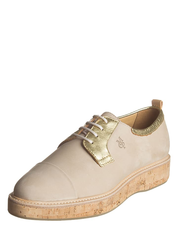 Marc O'Polo Shoes Leder-Schnürschuhe in Beige/ Gold