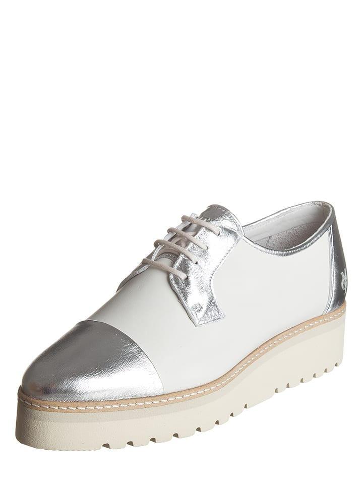 Marc O'Polo Shoes Leder-Schnürschuhe in Weiß/ Silber