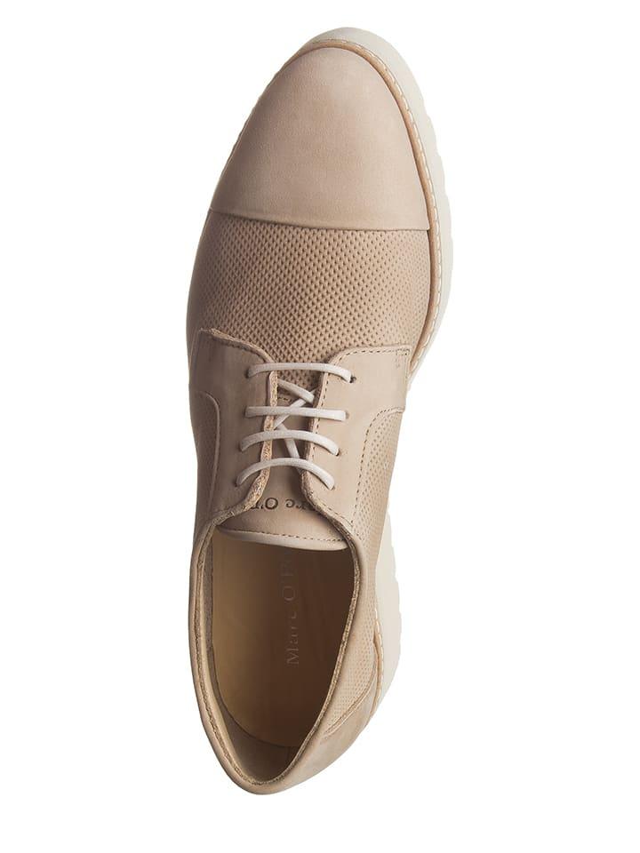 Marc O'Polo Shoes Leder-Schnürschuhe in Beige