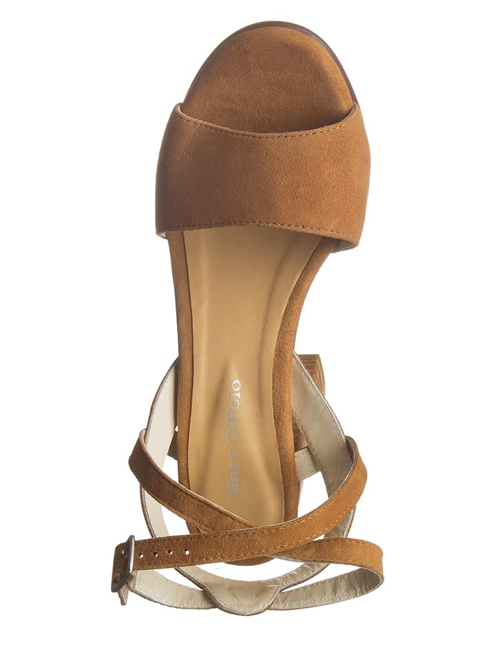 Marc O'Polo Shoes Leder-Sandaletten in Cognac