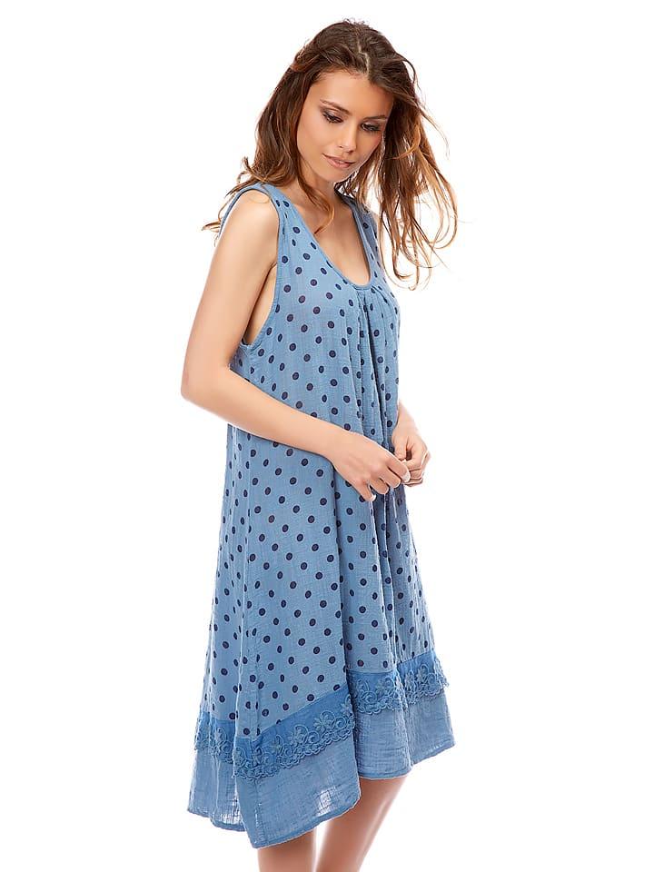 "Bagatelle Leinen-Kleid ""Abel"" in Blau"