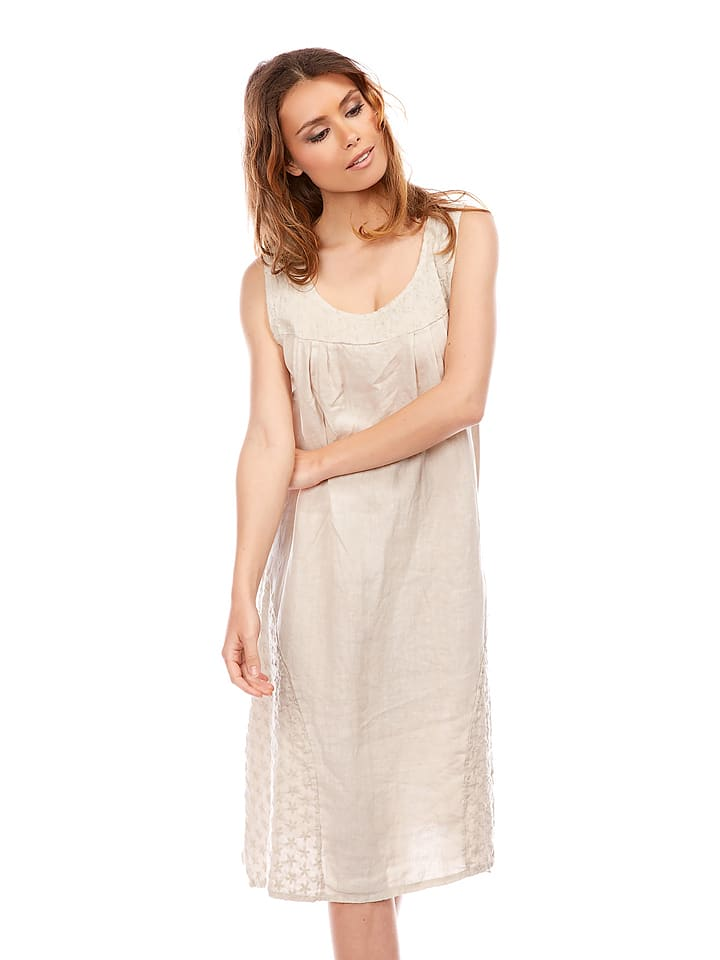 "Bagatelle Leinen-Kleid ""Vitalis"" in Beige"