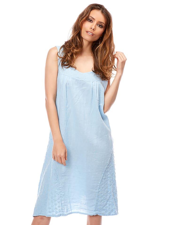 "Bagatelle Leinen-Kleid ""Vitalis"" in Hellblau"