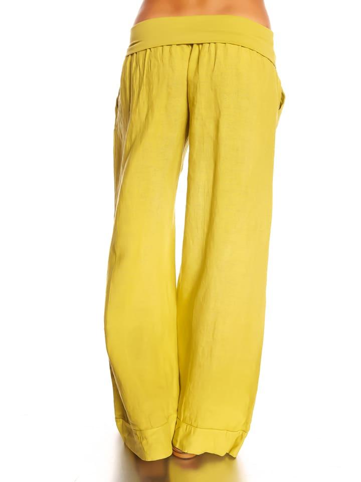 """La Belle Francaise Leinen-Hose """"Lea"""" in Gelb"""