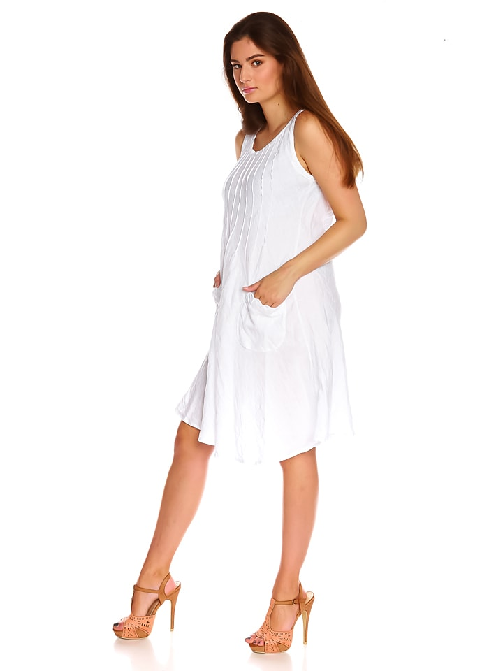 "La Belle Francaise Leinen-Kleid ""Cassy"" in Weiß"