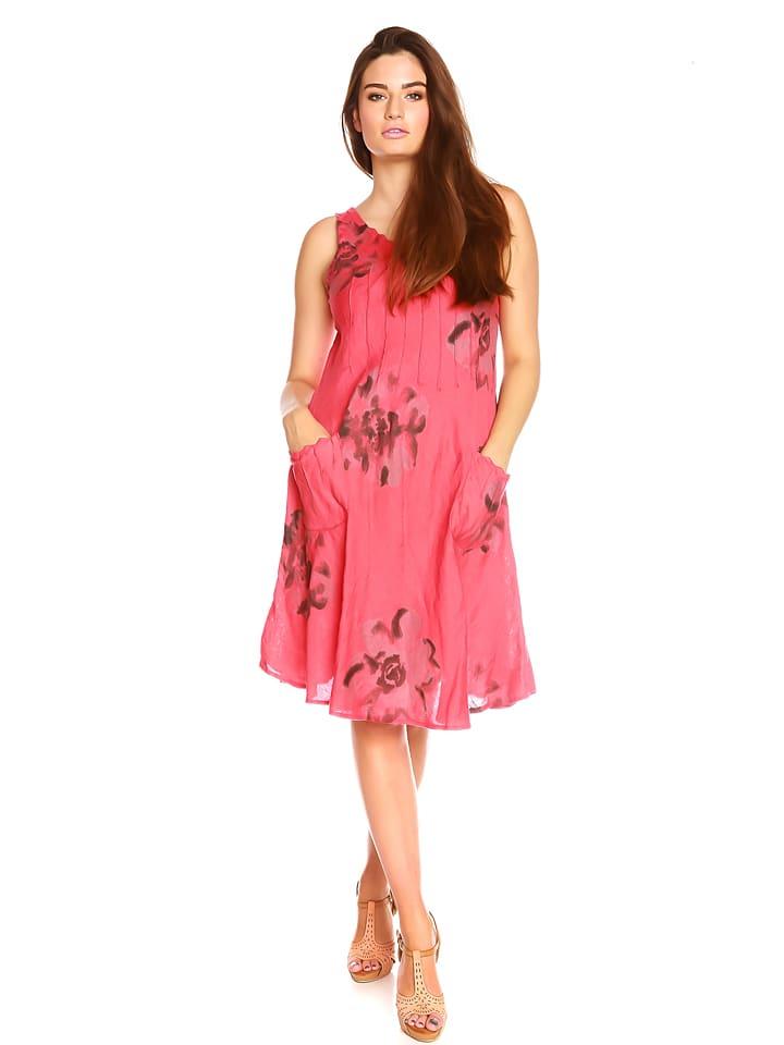 "La Belle Francaise Leinen-Kleid ""Noemie"" in Rot"