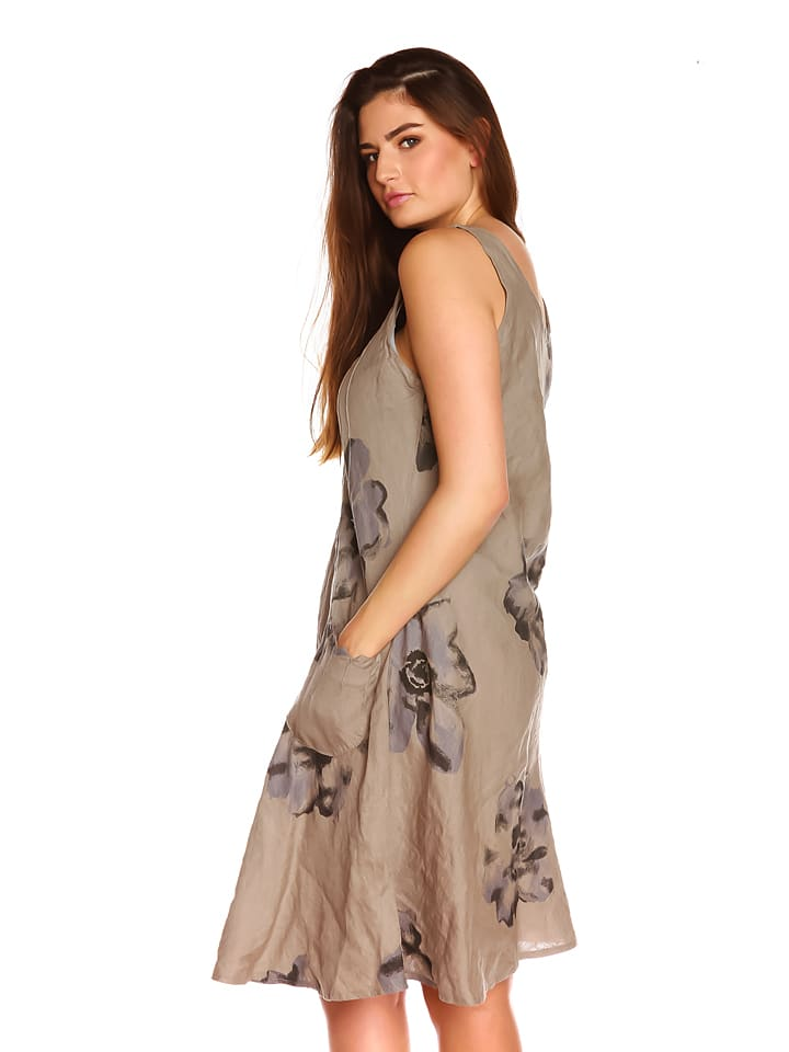 "La Belle Francaise Leinen-Kleid ""Noemie"" in Taupe"