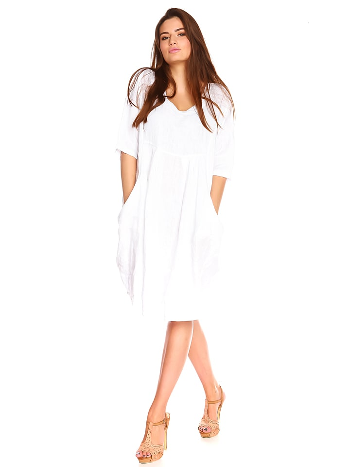"""La Belle Francaise Leinen-Kleid """"Vero"""" in Weiß"""