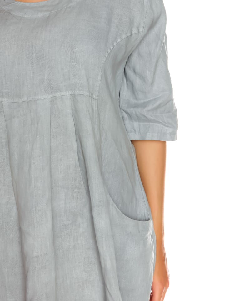 "La Belle Francaise Leinen-Kleid ""Vero"" in Hellgrau"