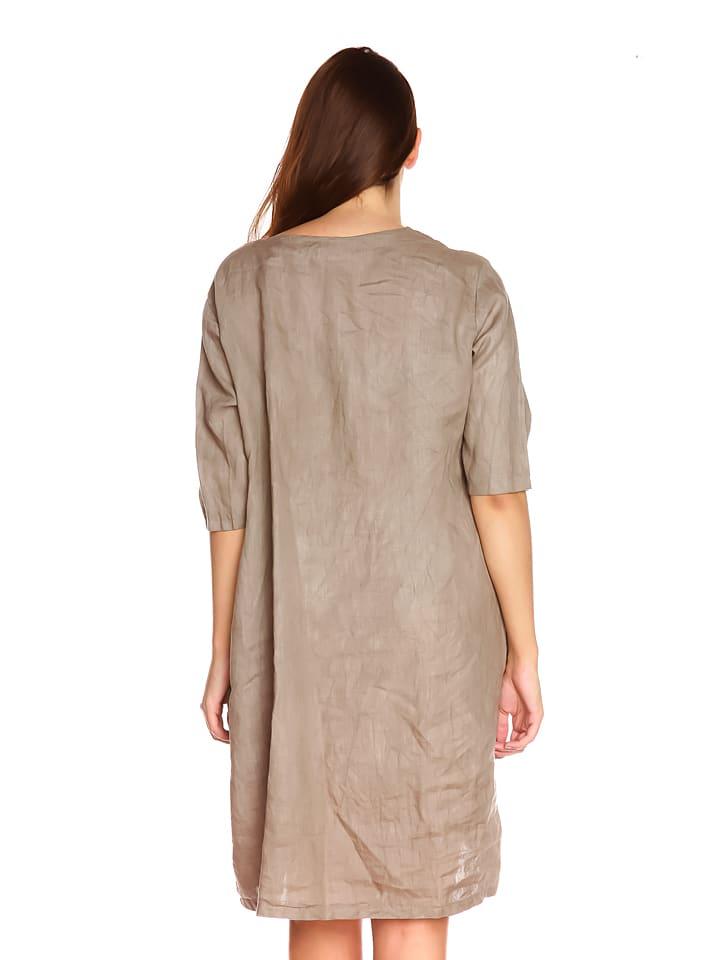"""La Belle Francaise Leinen-Kleid """"Vero"""" in Taupe"""