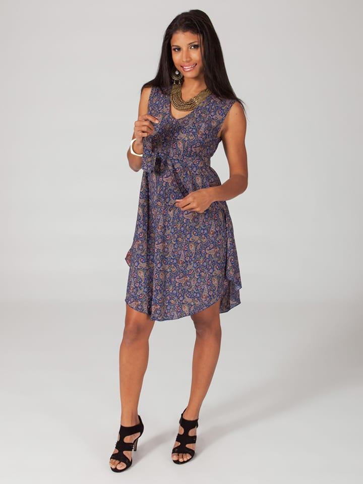Aller Simplement Kleid in Blau/ Beige