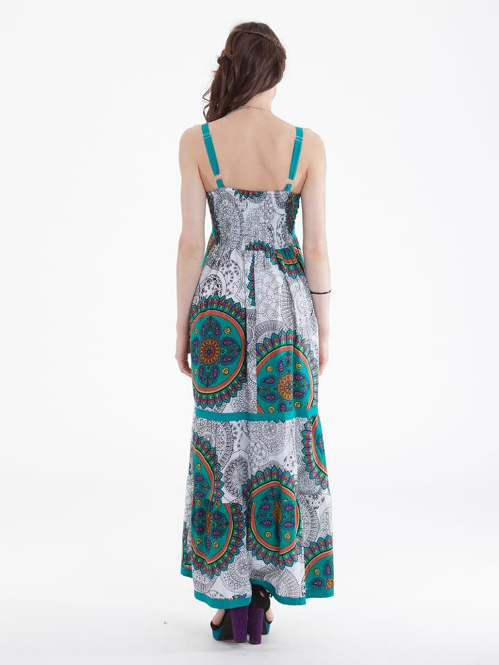 Aller Simplement Kleid in Weiß/ Petrol