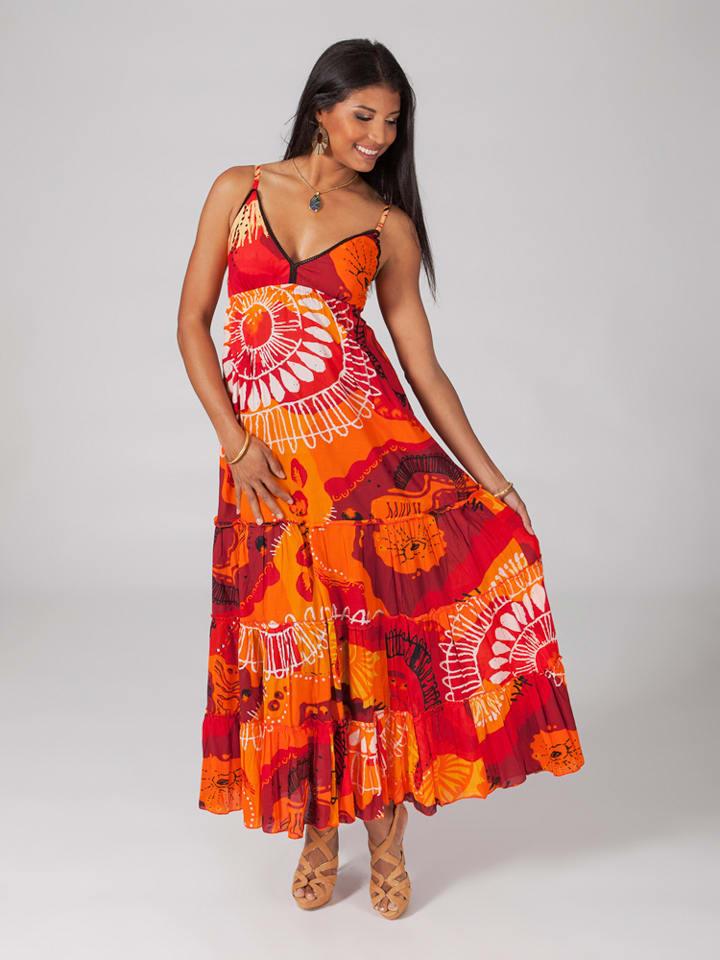 Aller Simplement Kleid in Orange/ Rot