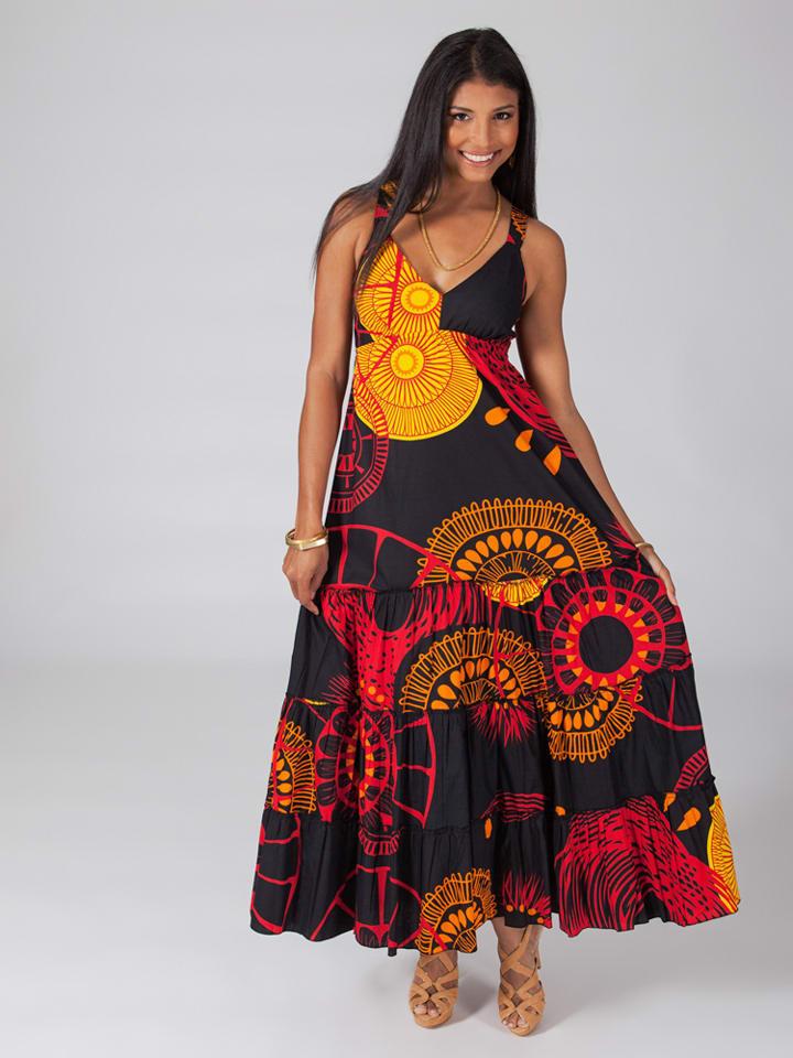 Aller Simplement Kleid in Schwarz/ Rot/ Gelb