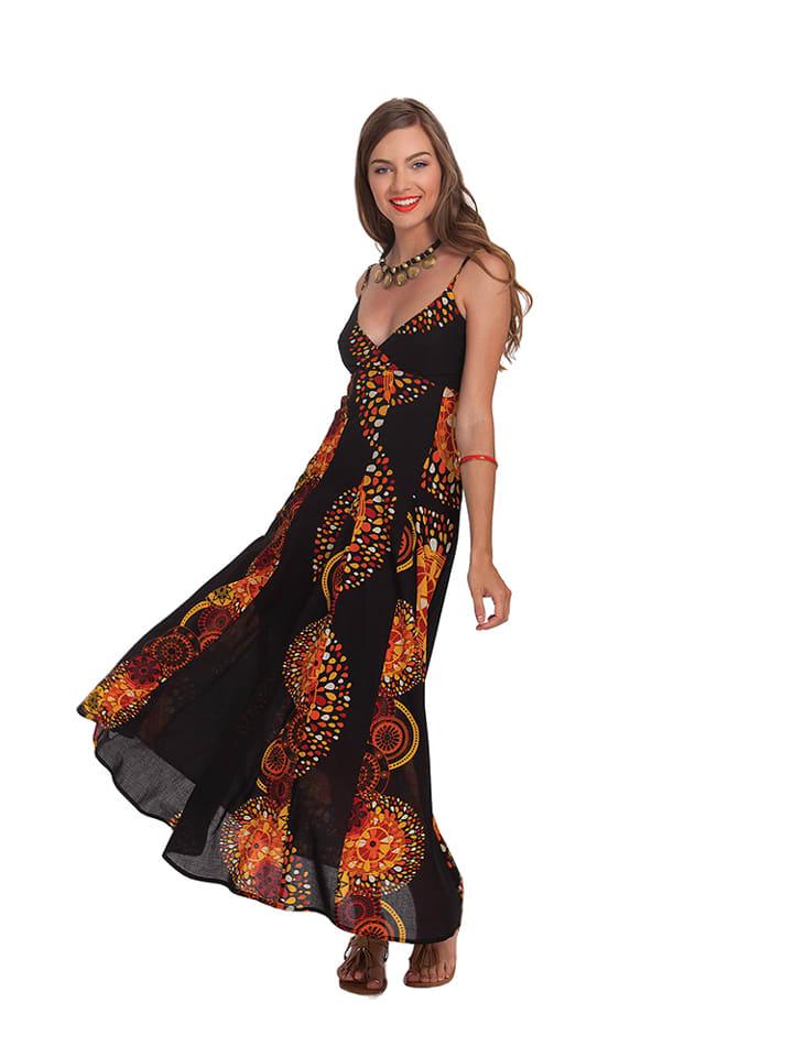 Aller Simplement Kleid in Schwarz/ Orange