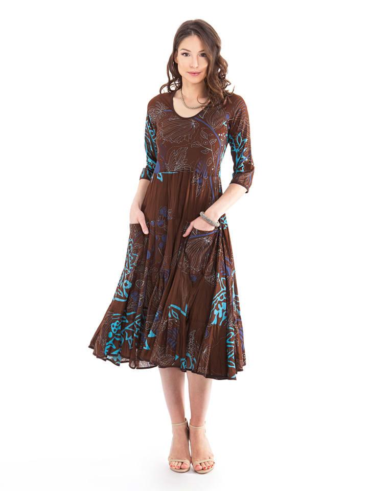 Aller Simplement Kleid in Braun/ Türkis