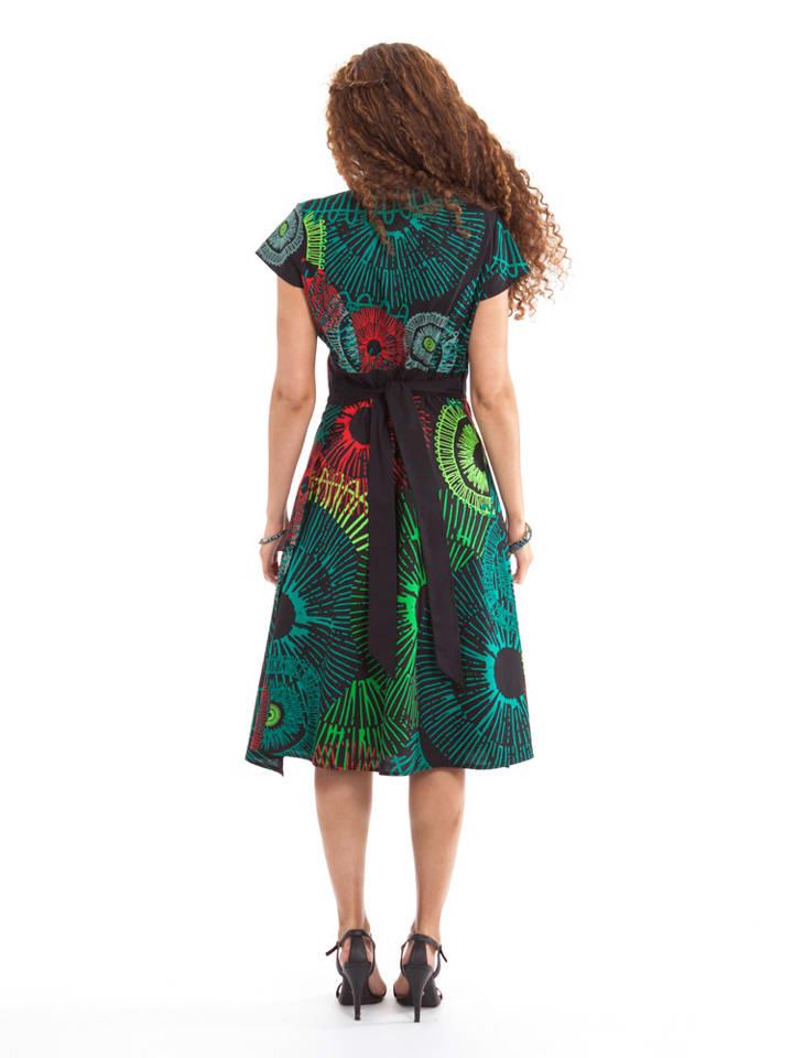 Aller Simplement Kleid in Grün/ Schwarz