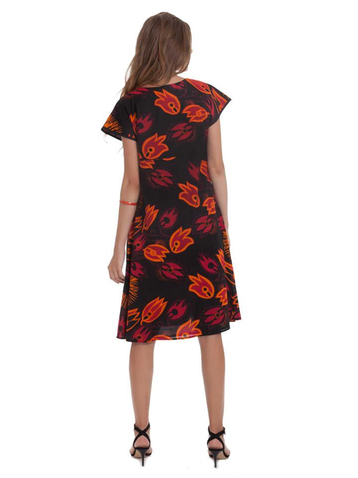 Aller Simplement Kleid in Schwarz/ Rot/ Orange
