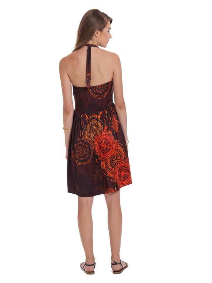 Aller Simplement Kleid in Braun/ Orange