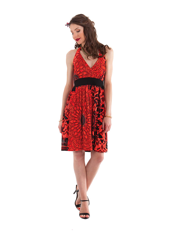 Aller Simplement Kleid in Rot/ Schwarz