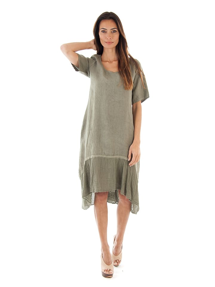Toutes en lin Leinen-Kleid in Khaki