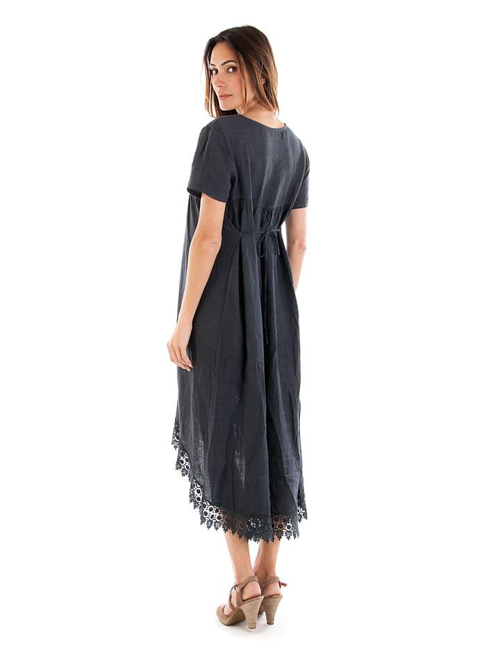 Toutes en lin Leinen-Kleid in Anthrazit