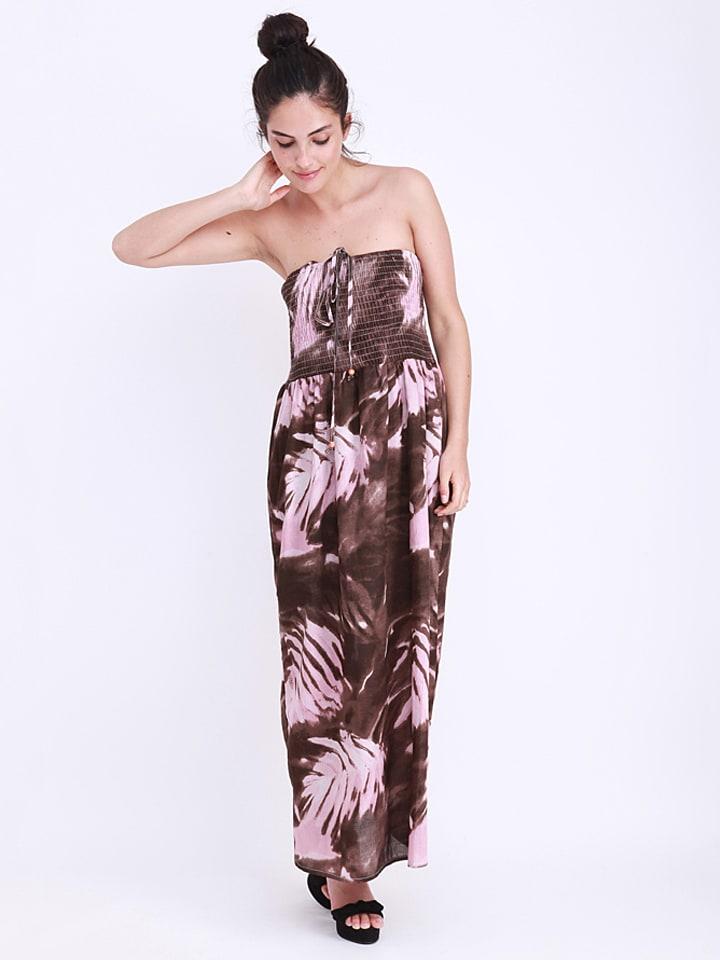 Anmol Kleid in Braun/ Rosa