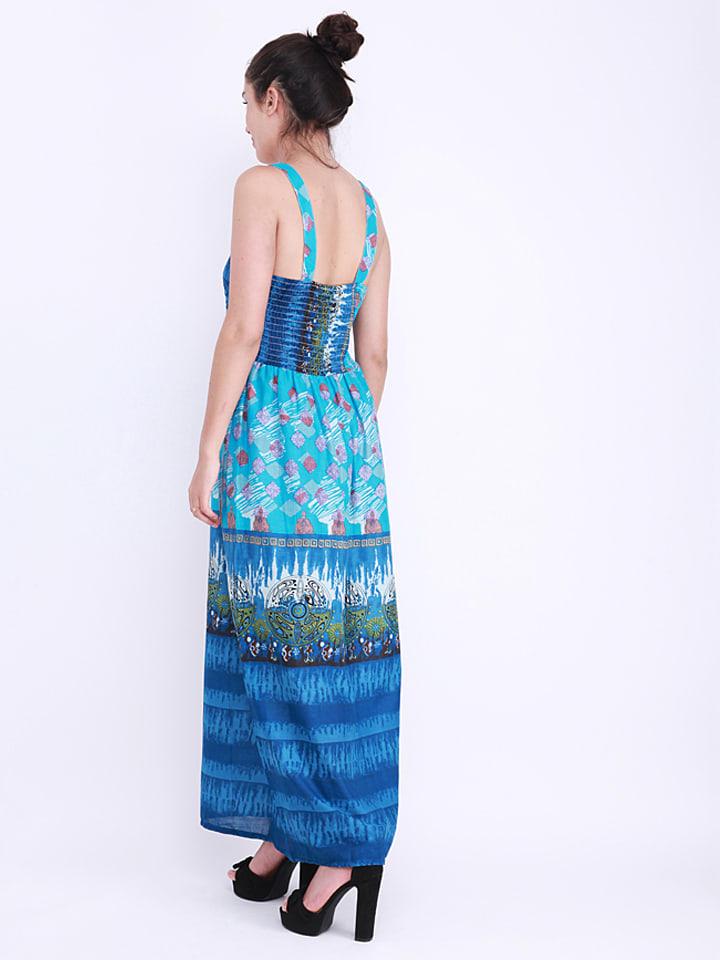 Anmol Kleid in Blau/ Bunt